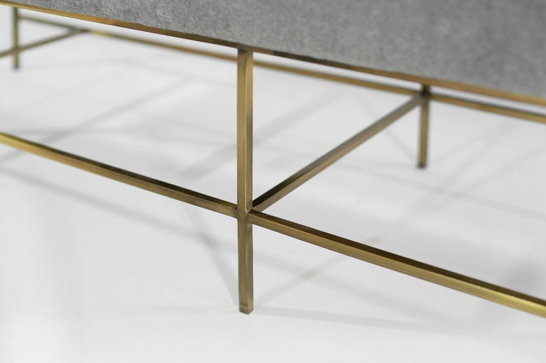 Stamford Modern's Architectural Brass Bench in Royal Alpaca For Sale 5