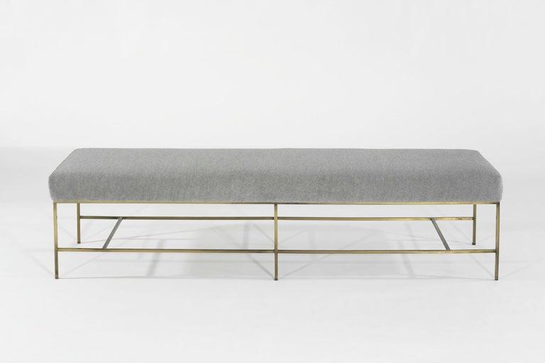 Mid-Century Modern Stamford Modern's Architectural Brass Bench in Royal Alpaca For Sale
