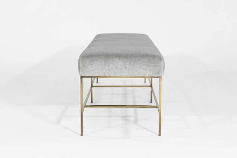 American Stamford Modern's Architectural Brass Bench in Royal Alpaca For Sale