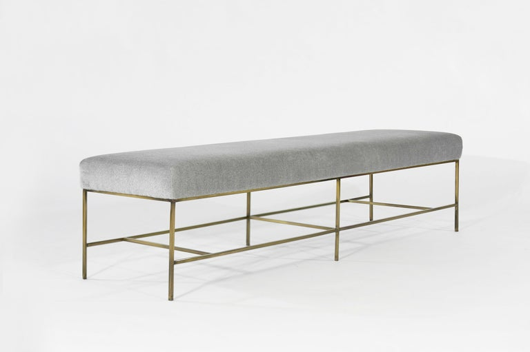 Stamford Modern's Architectural Brass Bench in Royal Alpaca In New Condition For Sale In Stamford, CT