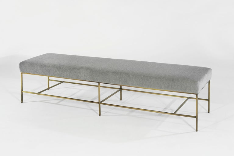 Contemporary Stamford Modern's Architectural Brass Bench in Royal Alpaca For Sale