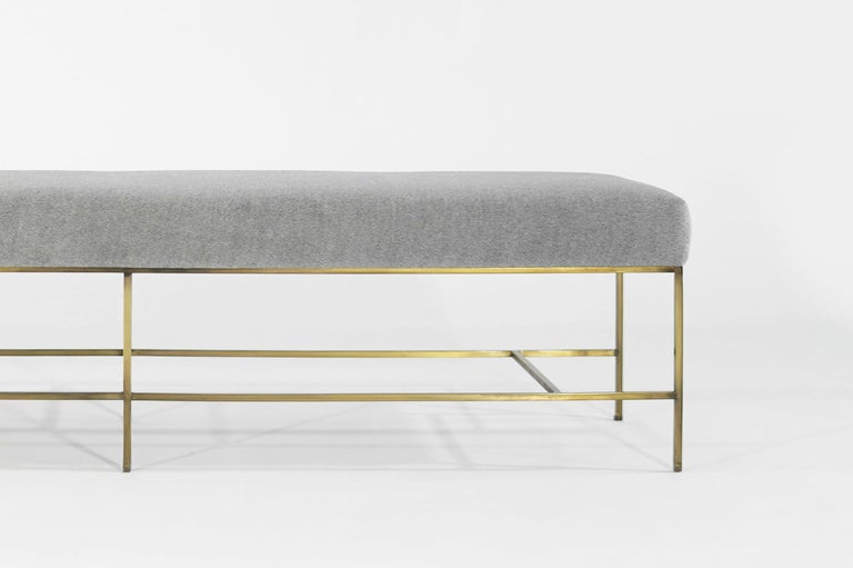 Stamford Modern's Architectural Brass Bench in Royal Alpaca For Sale 1