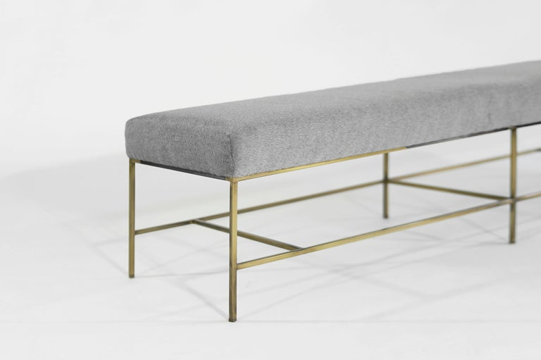 Stamford Modern's Architectural Brass Bench in Royal Alpaca For Sale 2