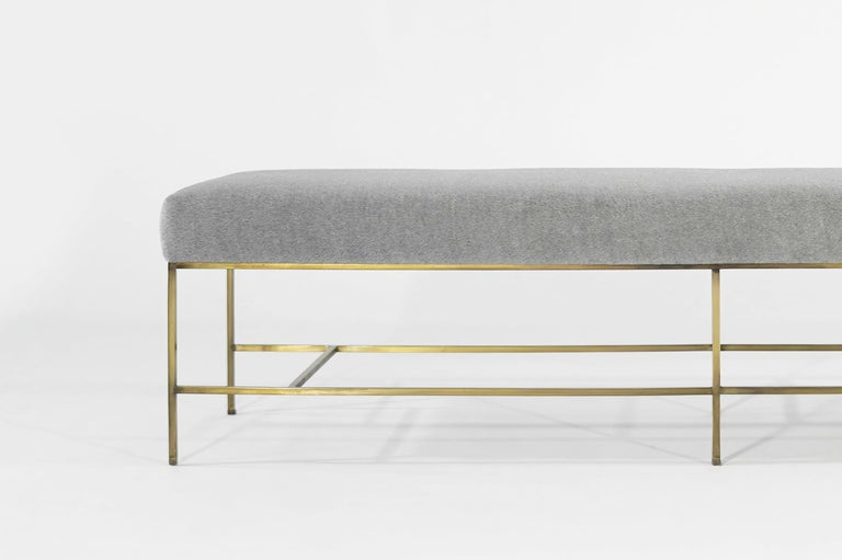 Stamford Modern's Architectural Brass Bench in Royal Alpaca For Sale 3