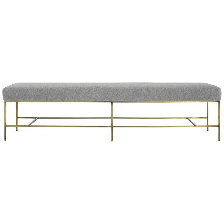 Stamford Modern's Architectural Brass Bench in Royal Alpaca For Sale