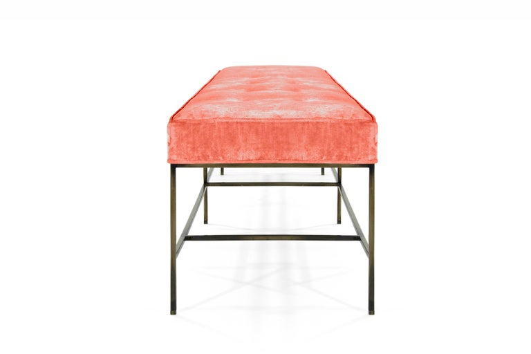 Stamford Modern's Architectural Bronze Bench in Coral Chenille For Sale 4