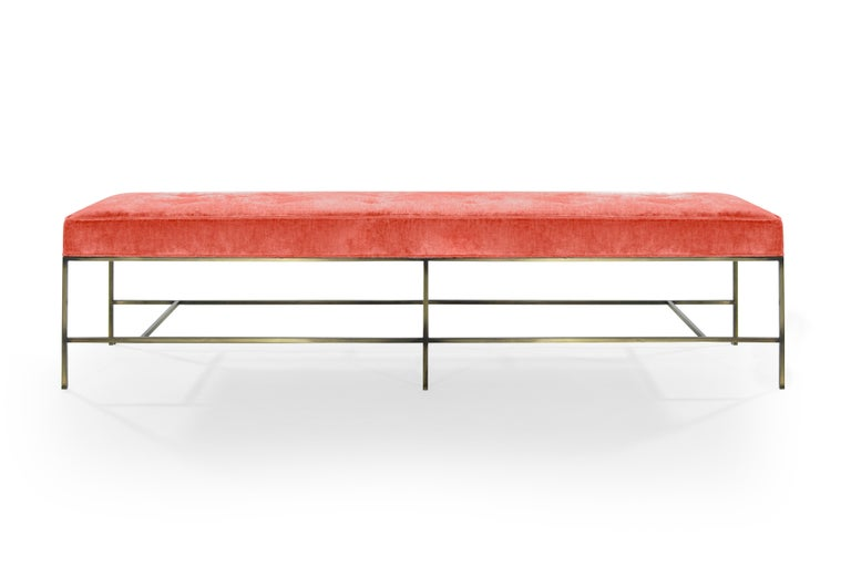 Mid-Century Modern Stamford Modern's Architectural Bronze Bench in Coral Chenille For Sale