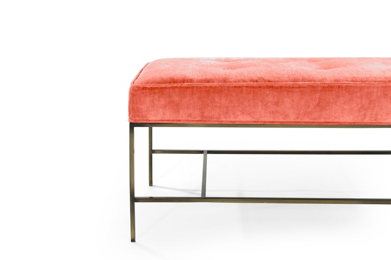Stamford Modern's Architectural Bronze Bench in Coral Chenille In New Condition For Sale In Stamford, CT