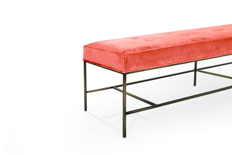 Contemporary Stamford Modern's Architectural Bronze Bench in Coral Chenille For Sale