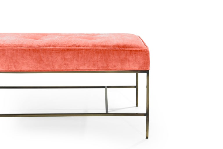 Stamford Modern's Architectural Bronze Bench in Coral Chenille For Sale 3