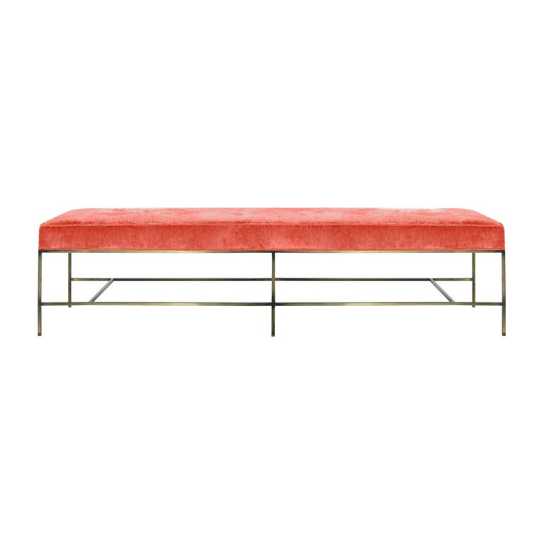 Stamford Modern's Architectural Bronze Bench in Coral Chenille For Sale