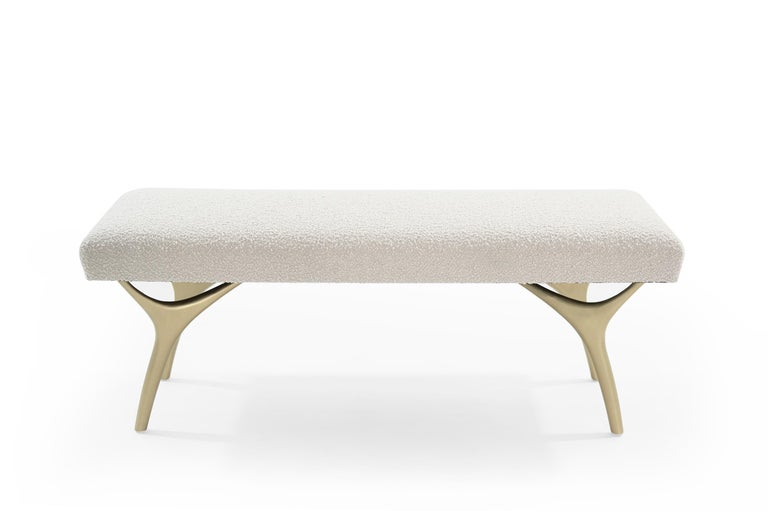 Polished Stamford Modern's Crescent Bench in Bouclé For Sale