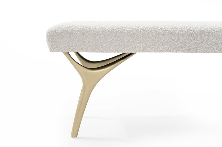 Brass Stamford Modern's Crescent Bench in Bouclé For Sale