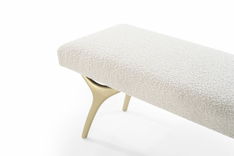 Stamford Modern's Crescent Bench in Bouclé For Sale 2