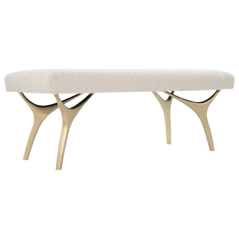 Stamford Modern's Crescent Bench in Bouclé For Sale