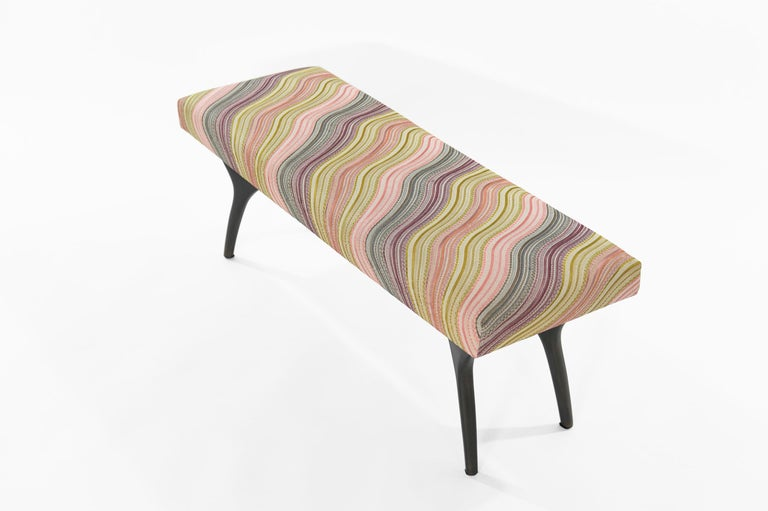 Polished Stamford Modern's Crescent Bench in Bronze For Sale