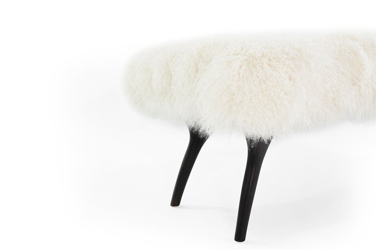 Stamford Modern's Crescent Bench in Mongolian Wool For Sale 2