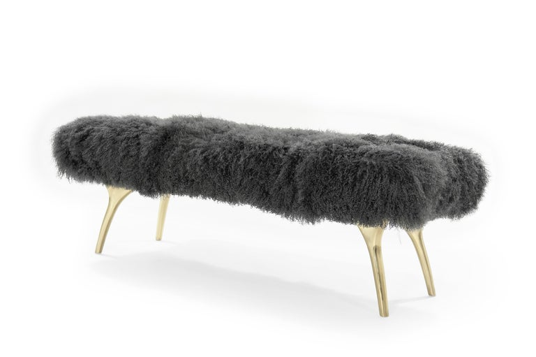 Mid-Century Modern Stamford Modern's Crescent Bench in Mongolian Wool For Sale