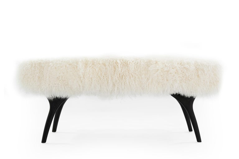 American Stamford Modern's Crescent Bench in Mongolian Wool For Sale