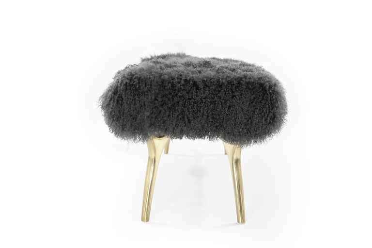 Polished Stamford Modern's Crescent Bench in Mongolian Wool For Sale