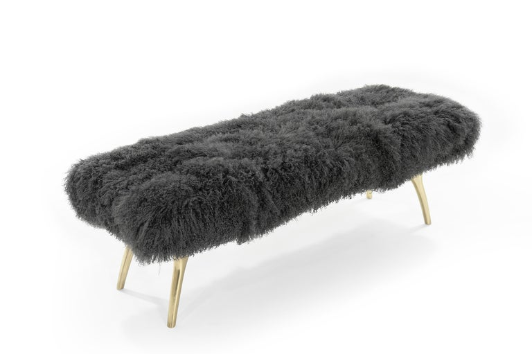 Stamford Modern's Crescent Bench in Mongolian Wool In New Condition For Sale In Stamford, CT