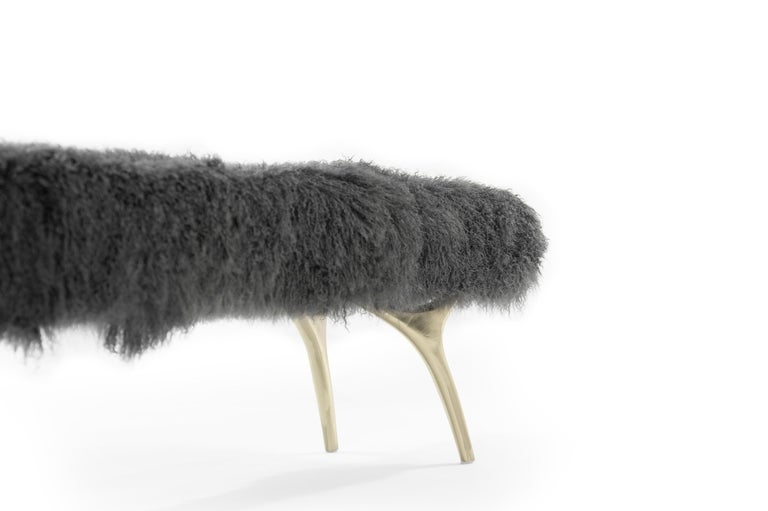 Brass Stamford Modern's Crescent Bench in Mongolian Wool For Sale