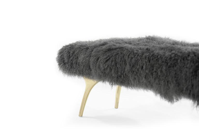 Stamford Modern's Crescent Bench in Mongolian Wool For Sale 1