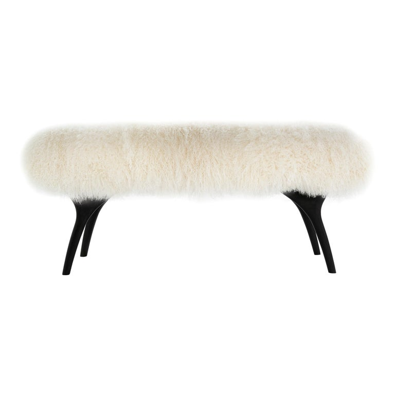 Stamford Modern's Crescent Bench in Mongolian Wool For Sale