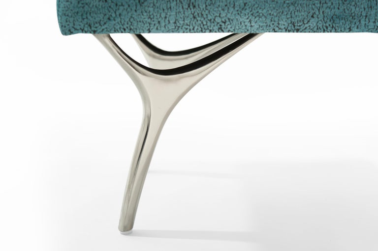 Stamford Modern's Crescent Bench in Nickel For Sale 3