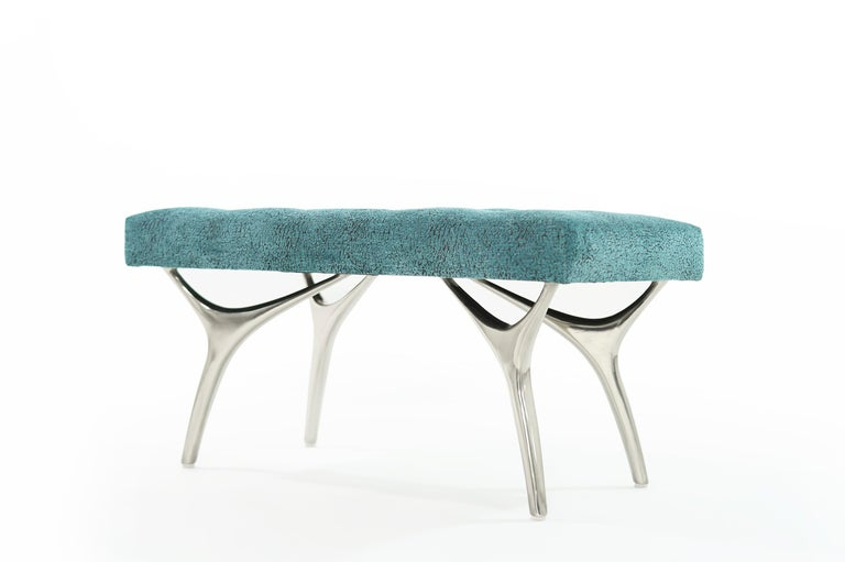 American Stamford Modern's Crescent Bench in Nickel For Sale