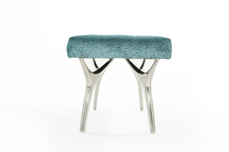 Polished Stamford Modern's Crescent Bench in Nickel For Sale