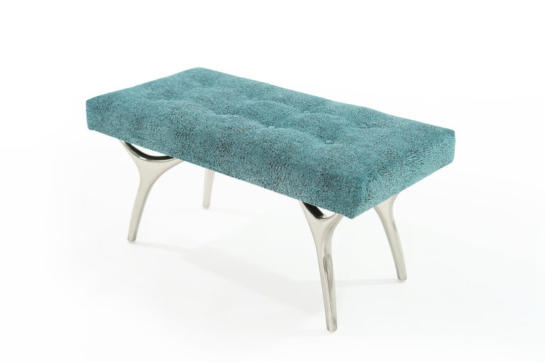 Stamford Modern's Crescent Bench in Nickel In New Condition For Sale In Stamford, CT