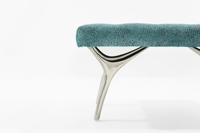 Contemporary Stamford Modern's Crescent Bench in Nickel For Sale