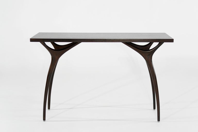 American Stamford Modern's Crescent Console Table in Mahogany For Sale