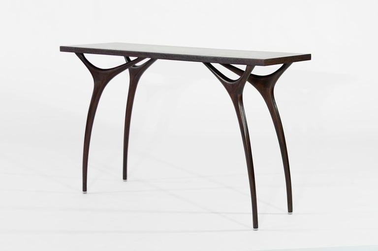 Stamford Modern's Crescent Console Table in Mahogany In New Condition For Sale In Stamford, CT