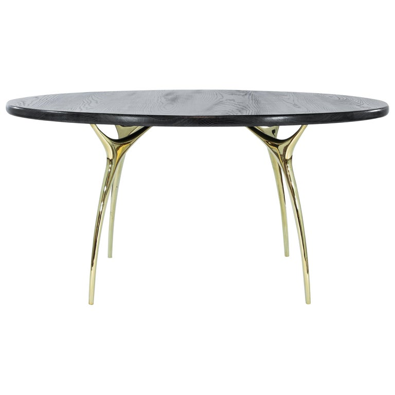 Stamford Modern's Crescent Dining Table in Limed Oak For Sale