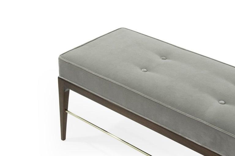 Stamford Modern's Linear Bench in Grey Velvet For Sale 3