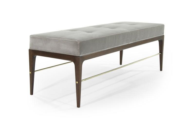 Mid-Century Modern Stamford Modern's Linear Bench in Grey Velvet For Sale