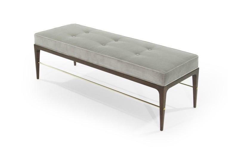 American Stamford Modern's Linear Bench in Grey Velvet For Sale