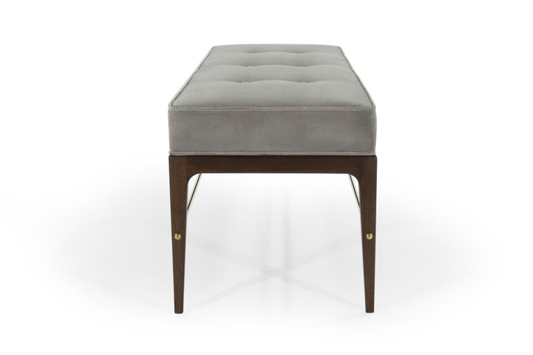 Stamford Modern's Linear Bench in Grey Velvet In New Condition For Sale In Stamford, CT