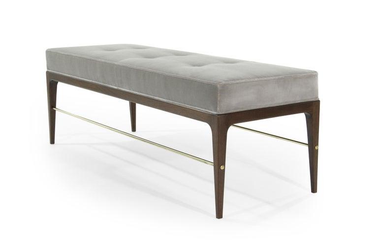Contemporary Stamford Modern's Linear Bench in Grey Velvet For Sale