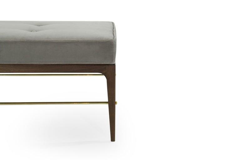 Brass Stamford Modern's Linear Bench in Grey Velvet For Sale