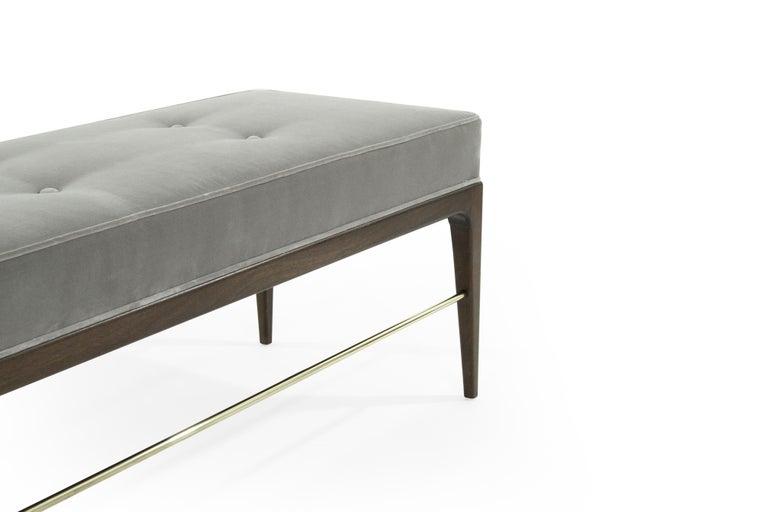 Stamford Modern's Linear Bench in Grey Velvet For Sale 1