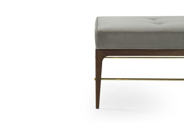 Stamford Modern's Linear Bench in Grey Velvet For Sale 2