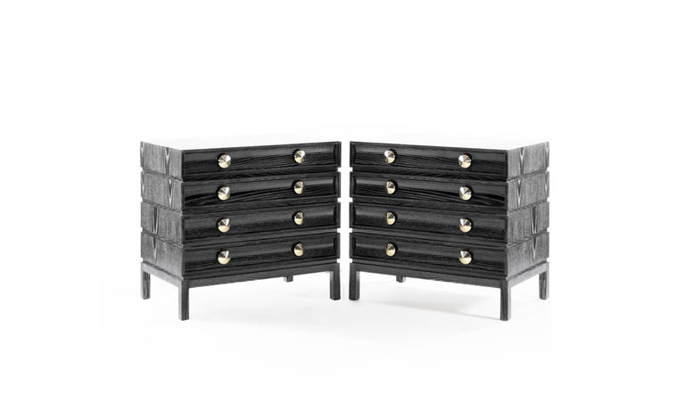 Mid-Century Modern Stamford Modern's Stacked Bedside Tables in Black Ceruse For Sale