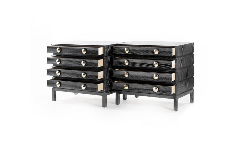 Stamford Modern's Stacked Bedside Tables in Black Ceruse In New Condition For Sale In Stamford, CT