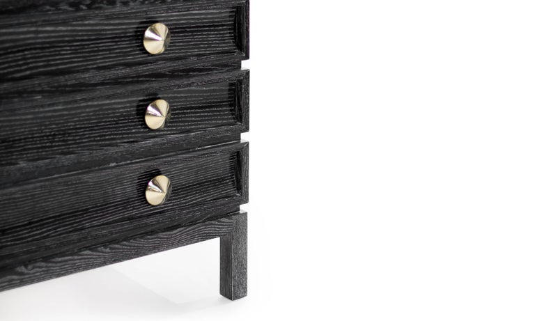 Contemporary Stamford Modern's Stacked Bedside Tables in Black Ceruse For Sale