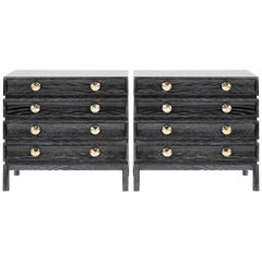 Stamford Modern's Stacked Bedside Tables in Black Ceruse