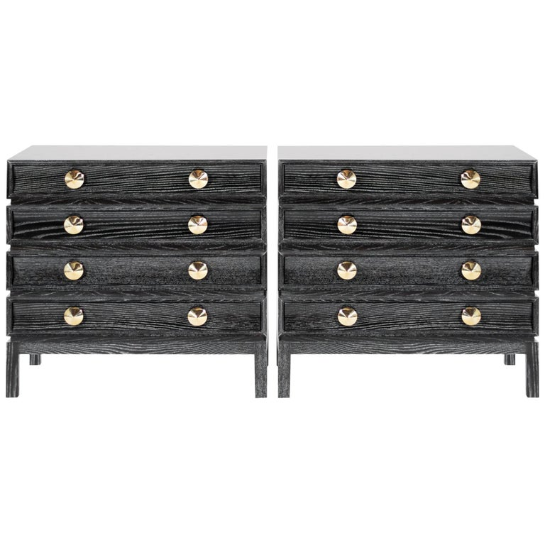 Stamford Modern's Stacked Bedside Tables in Black Ceruse For Sale
