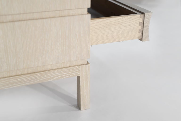 Stamford Modern's Stacked Bedside Tables in Cerused Oak For Sale 4